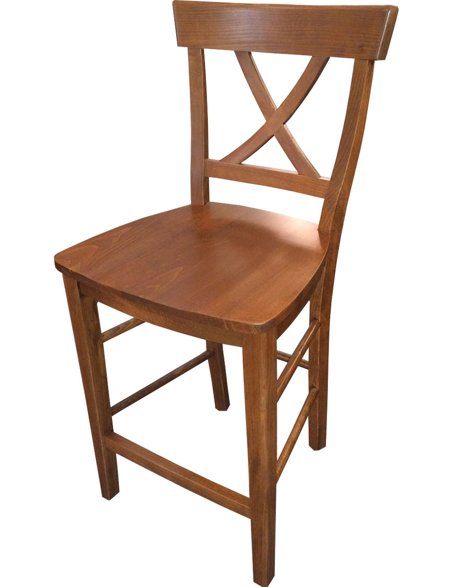 x back barstool with natural stain
