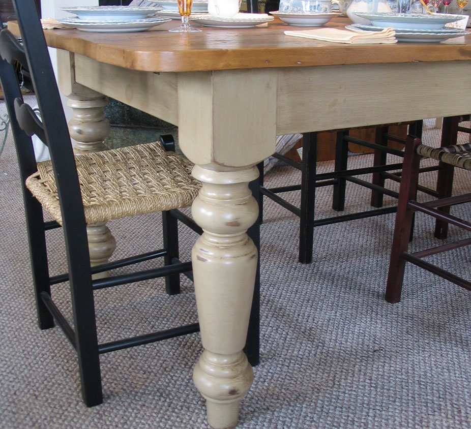 French Country Farm Table With Vintage Pine Wood Top And 5 Inch Thick Leg French Country