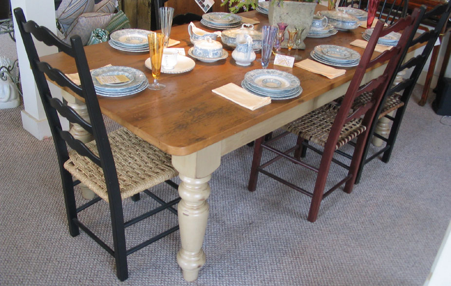 Farm Table Vintage Pine Top