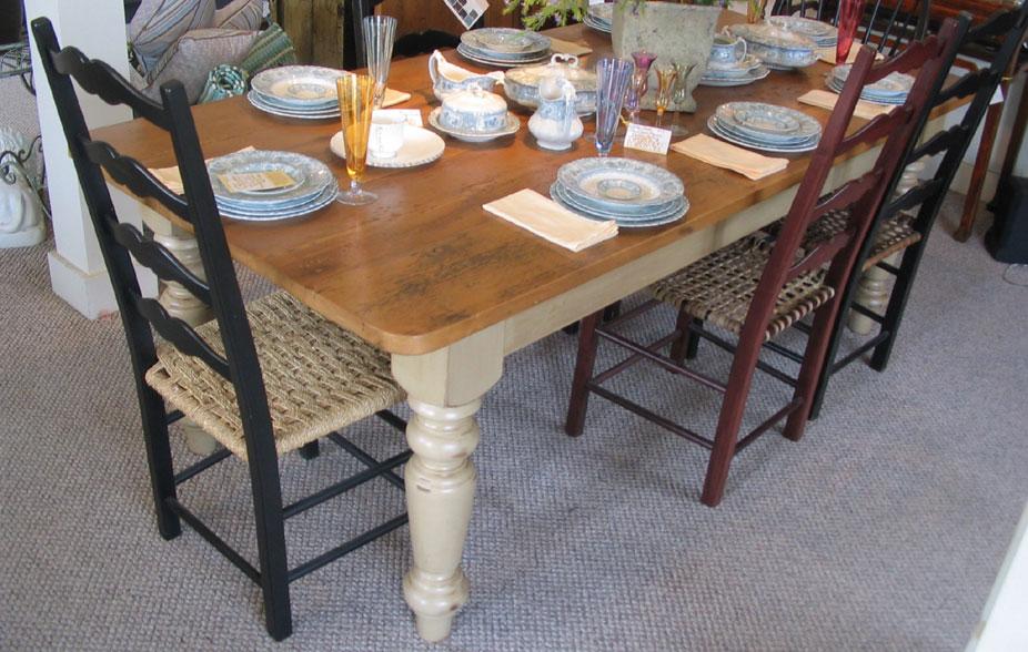 Farm Table Vintage Pine Top