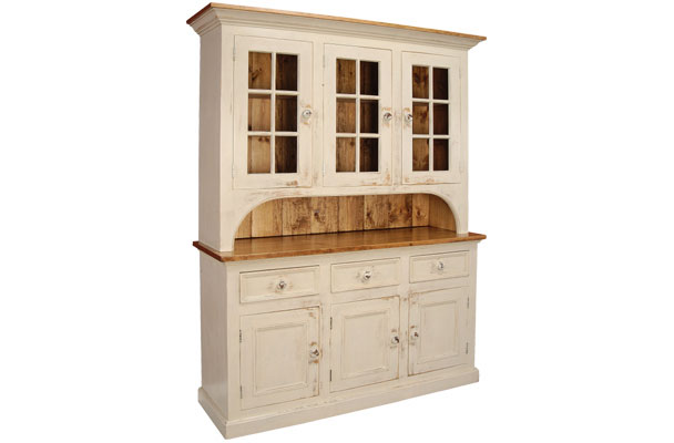 French Country Three Glass Door Cupboard