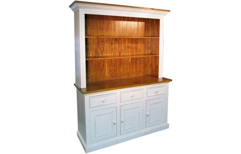 French Country 3 Door Open Shelf Stepback Cupboard
