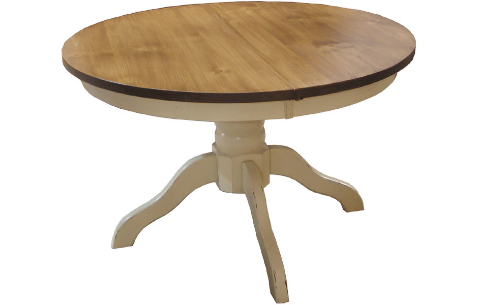 French Country 48 Round Footed Pedestal Table With