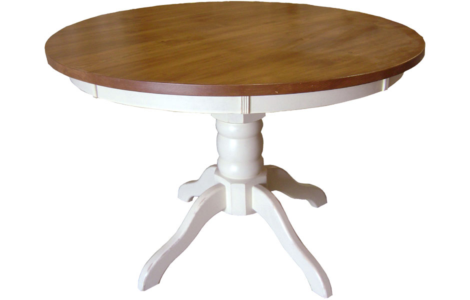 48 Inch Round Pedestal Dining Table With White Painted Base And Natural  Stain Top ...