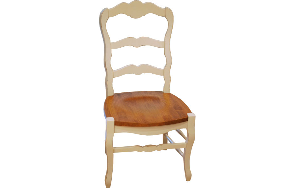 Country French Ladderback Side Chair With Wood Seat In Champlain