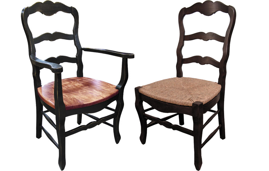 Country French Ladderback Arm Chair And Side Chair
