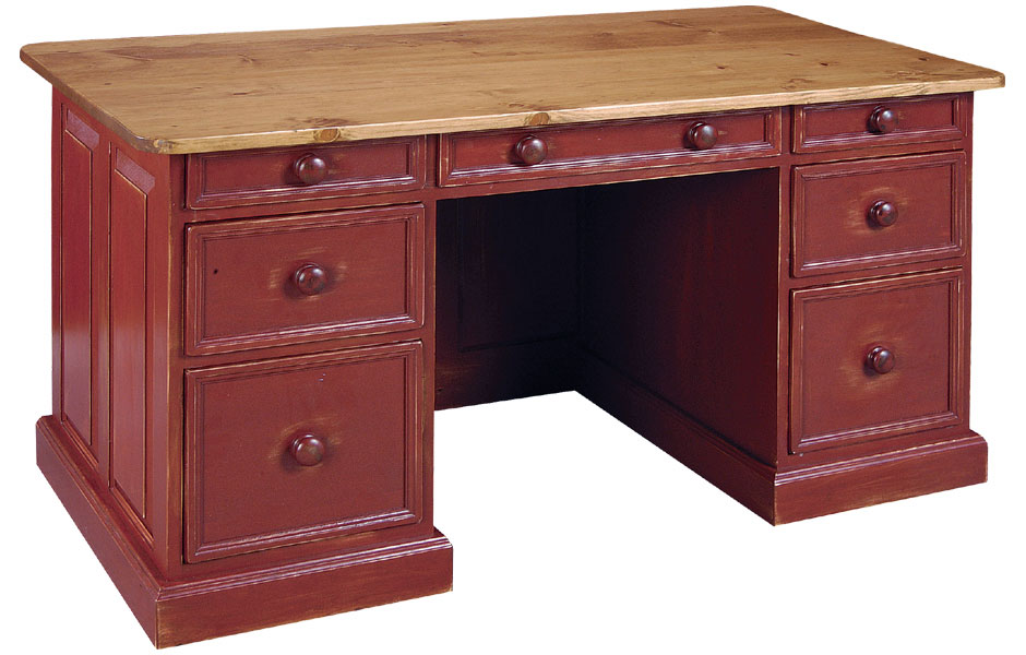 Executive Desk With Cranberry Paint And Natural Stain Top