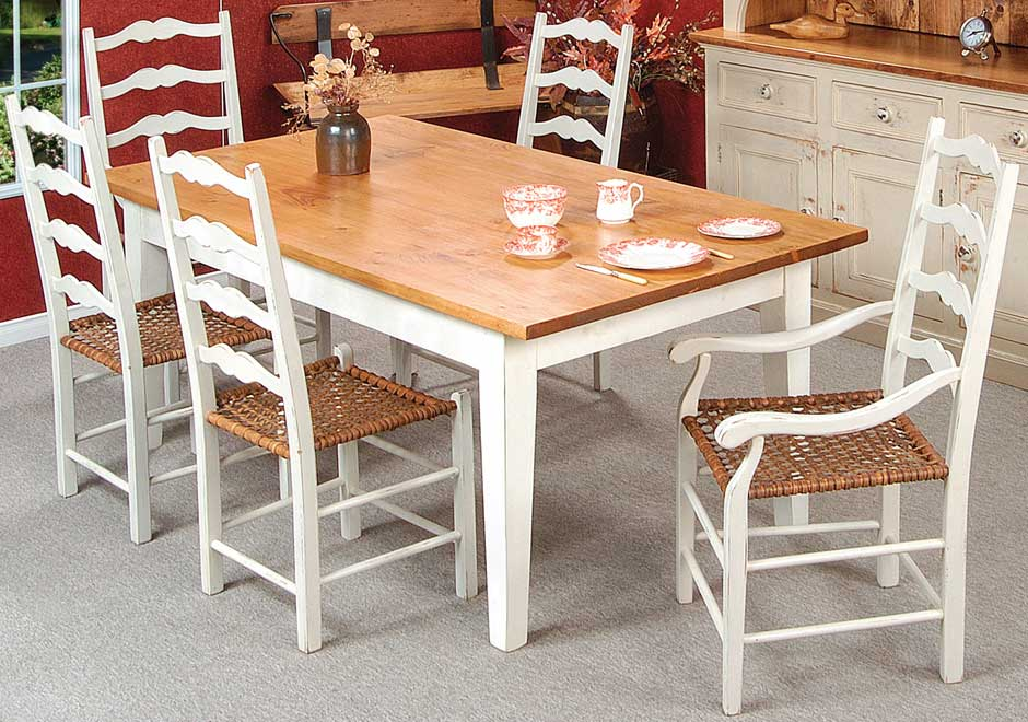 French Country Ladderback Dining Chair Set.
