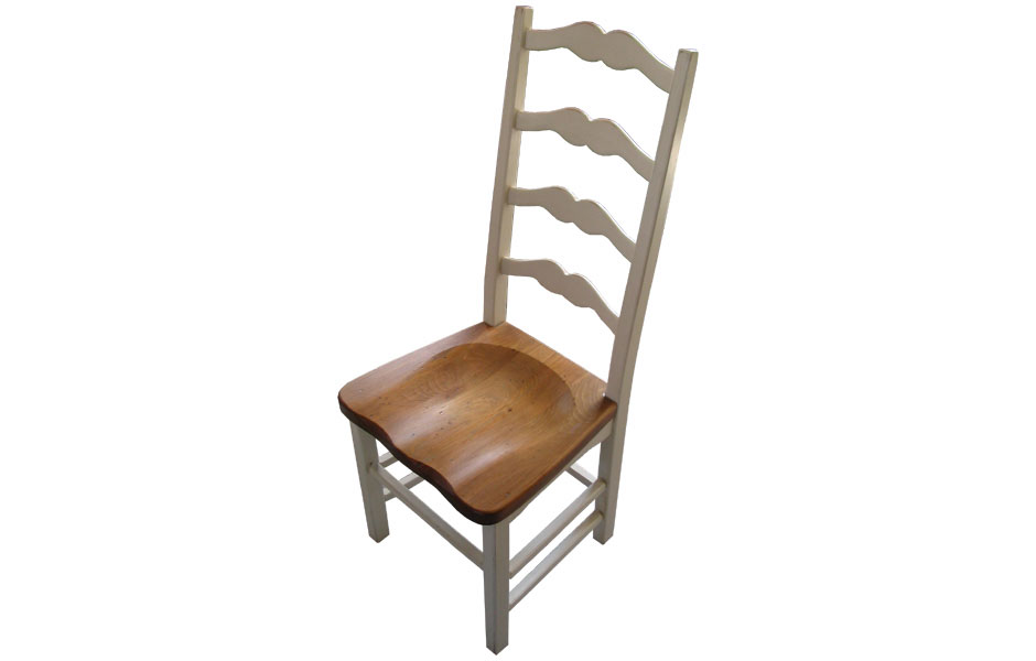 French Country Ladderback Side Chair With Wood Seat In Champlain