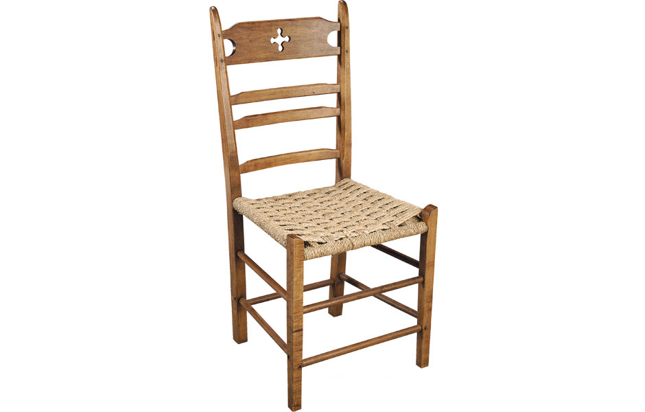 French Country Paysanne Side Chair With Woven Seagrass Seat In Walnut