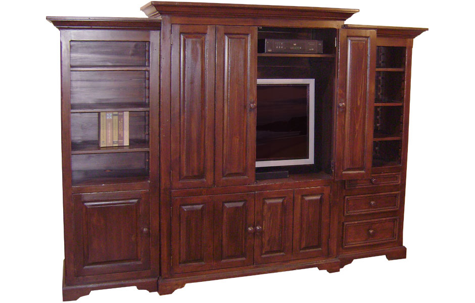 Flat Screen TV Entertainment Center Finished In Black Cherry.