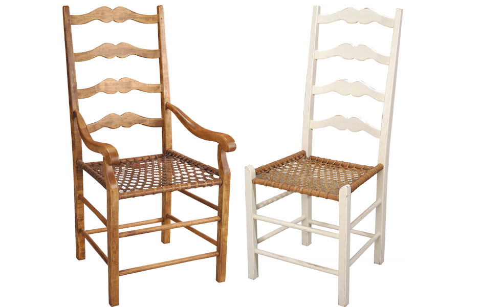 French Country Ladderback Arm Chair And Side Chair