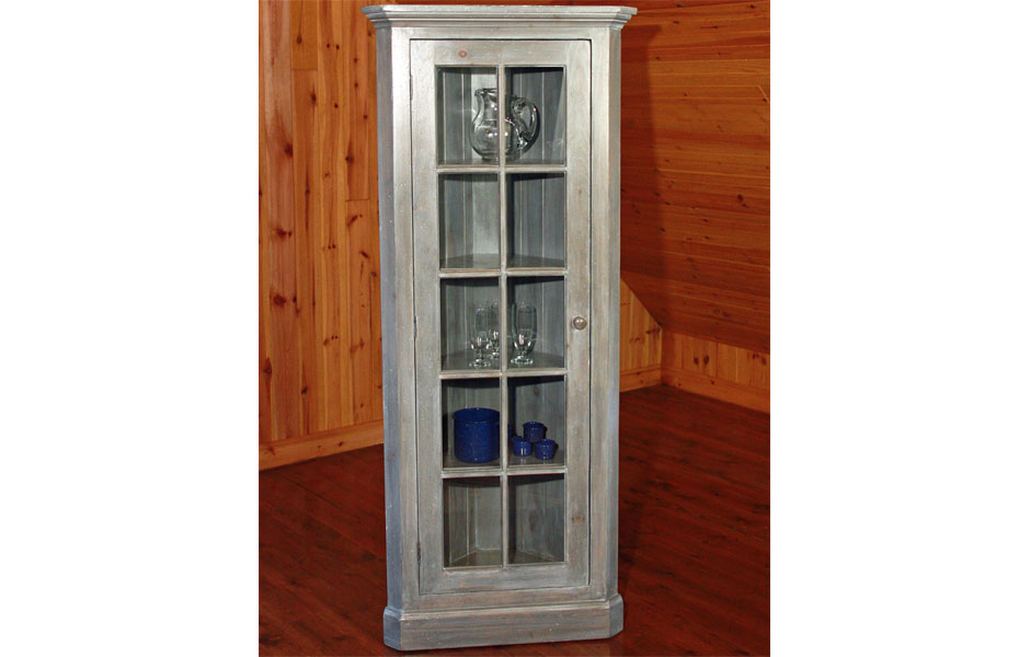 French Country Glass Door Corner Cupboard French Country