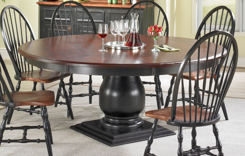 Round Pedestal Dining Table Room Setting (Black Base And Black Cherry Top)