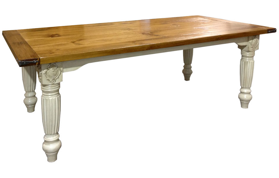 Provincial Table With 5 Inch Fluted Legs, Champlain Base, And Stained Pine  Top In Natural