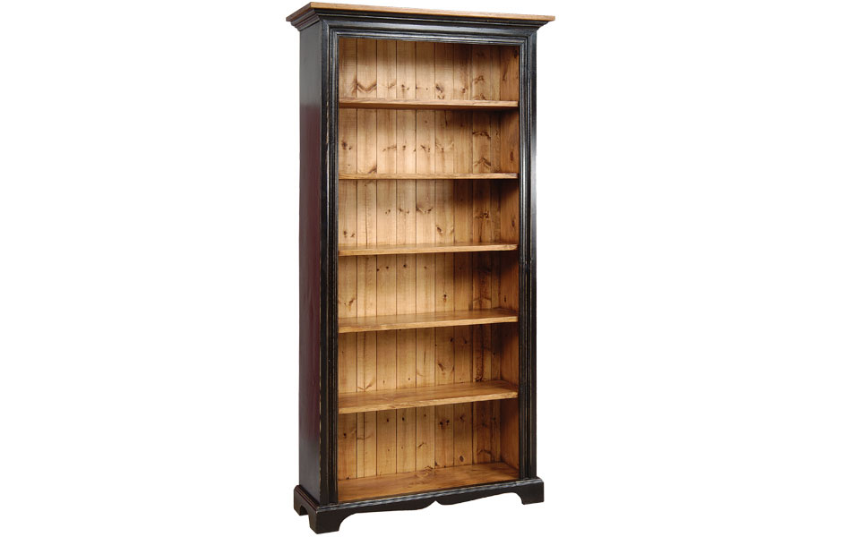 seven foot bookcase finished in black with natural stain top and interior