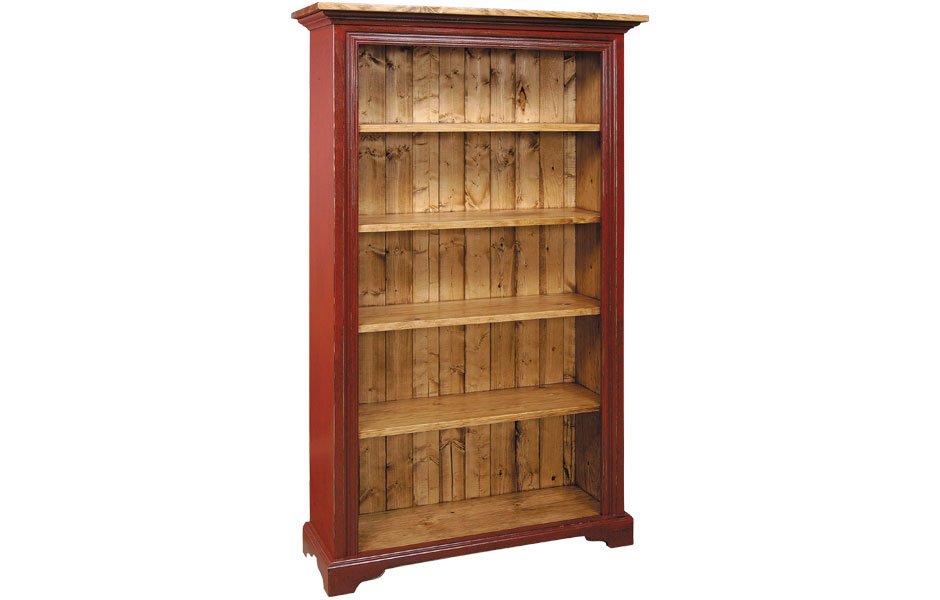 Six Foot Bookcase Finished In Barn Red With Natural Stain Top And Interior