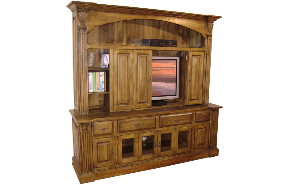French Country Provincial Tv Armoire With Bifold Doors French
