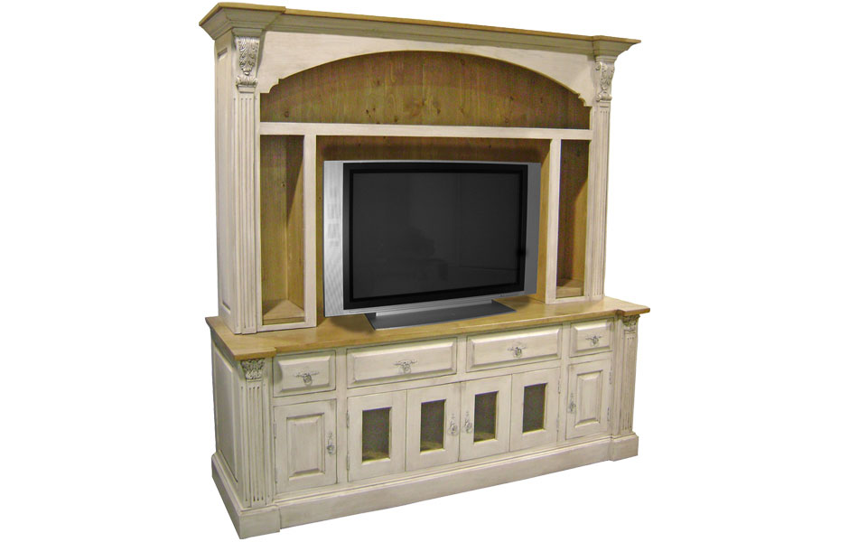 Provincial Tv Armoire With Open Shelves And Adjustable Shelves ...