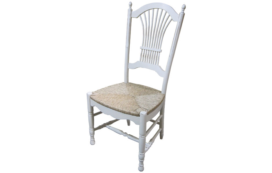 Wheat Back Side Chair With Rush Seat In Sturbridge.