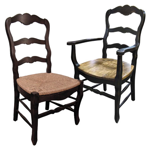 Country French Ladderback Chairs Select Rush Seat Wood