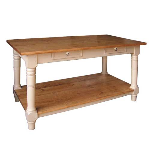 Kitchen island work table french country furniture made for Kitchen island table with chairs