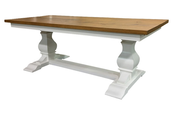 French Country Provincial Trestle Table, painted white and stained in Natural