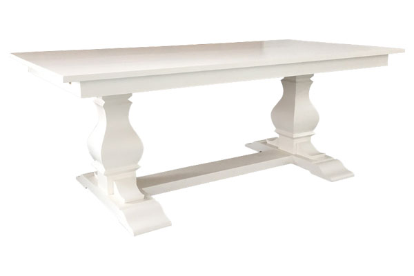 French Country Provincial Trestle Table, White with painted top