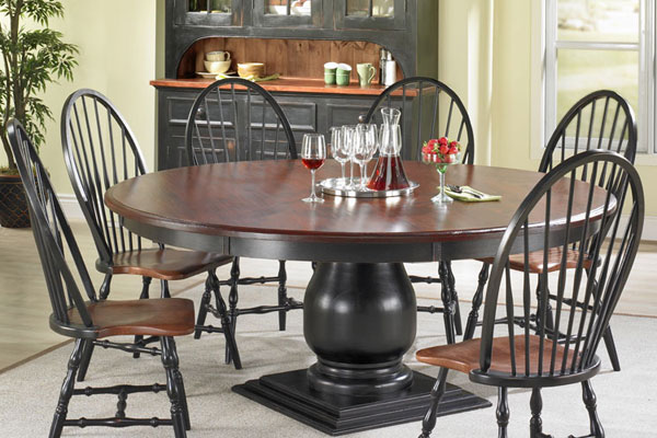French Country Round Pedestal Dining Table French