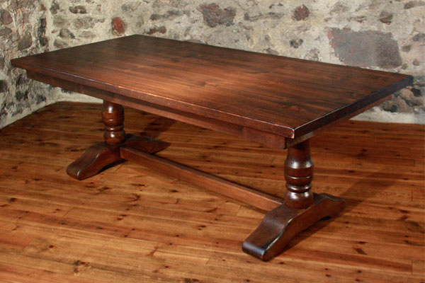 French Country Trestle Table, Sequoia Aged Finish