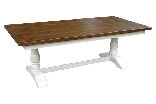 French Country Trestle Table, Sturbridge White with Sequoia top