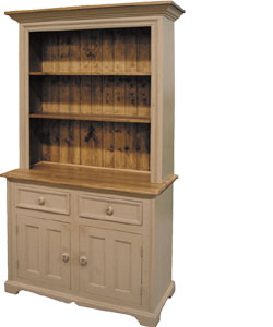 French Country 2 Door Open Shelf Stepback Cupboard