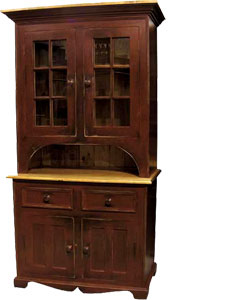 French Country 2 Glass Door Stepback Cupboard