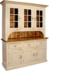 French Country 3 Glass Door Stepback Cupboard