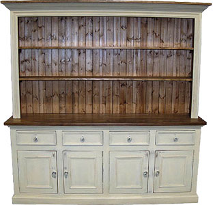 French Country 4 Door Open Shelf Stepback Cupboard