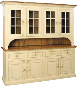 French Country 4 Glass Door Stepback Cupboard