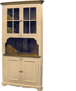 French Country Cottage Corner Cupboard