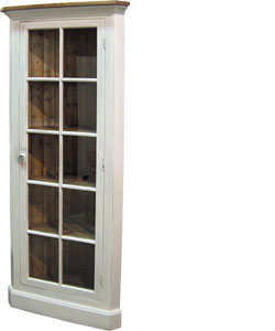 French Country Glass Door Corner Cupboard
