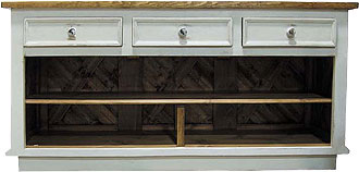 French Country Kitchen Island with Horizontal Drawers