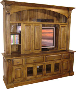 Delightful Provincial TV Armoire With Bifold Doors
