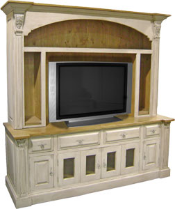 Provincial TV Armoire with Open Shelves