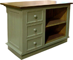 French Country Kitchen Island with Three Vertical Drawers