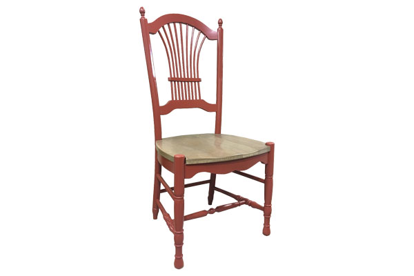 French Country Wheat Back Side Chair with Fort York Red paint
