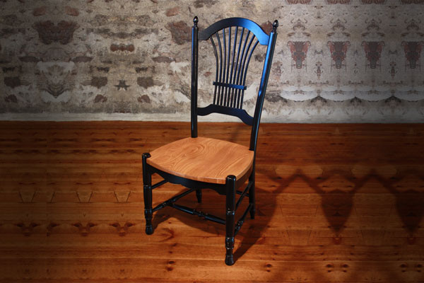 French Country Wheat Back Side Chair with black paint and natural stain seat