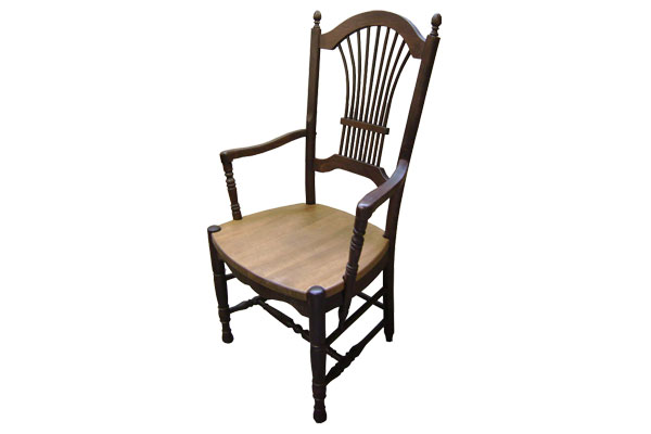 French Country Wheat Back Arm Chair with Walnut stain